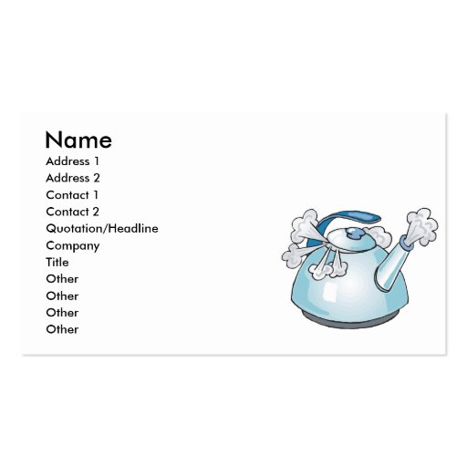 steaming tea pot kettle business card