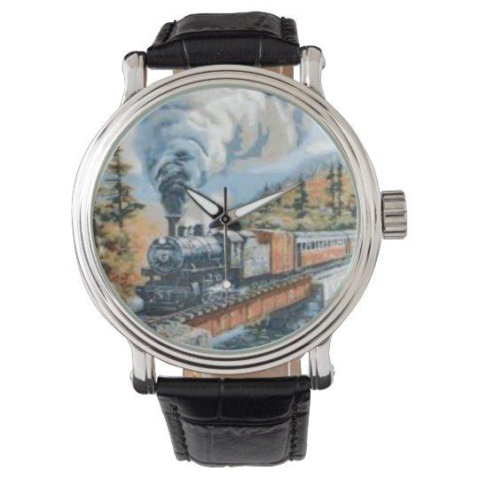 Steamlocomotive crossing bridge vintage watch