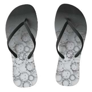 Steampunk abstract black and white Flip Flops