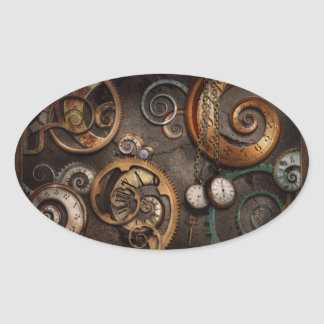 Steampunk - Abstract - Time is complicated Oval Sticker