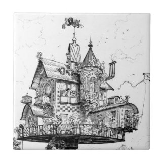 Steampunk Aerial House by Albert Robida Small Square Tile