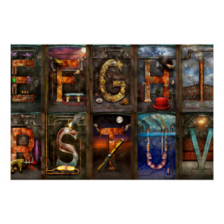 Steampunk - Alphabet - Complete Alphabet Perfect Poster