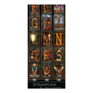 Steampunk - Alphabet - Complete Alphabet Rack Card Design