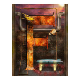 Steampunk - Alphabet - F is for Flying Machine Custom Flyer