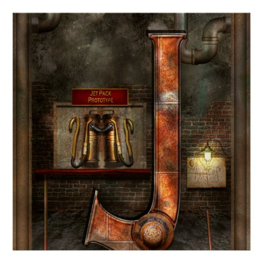 Steampunk - Alphabet - J is for Jet Pack Poster