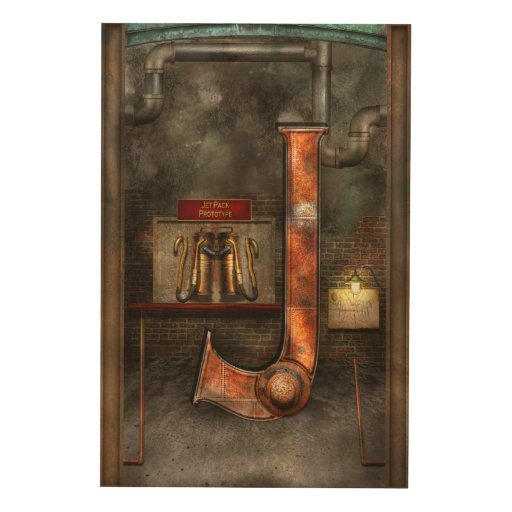 Steampunk - Alphabet - J is for Jet Pack Wood Canvases