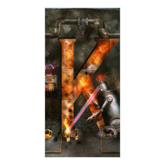 Steampunk - Alphabet - K is for Killer Robots Customized Photo Card