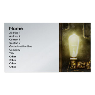 Steampunk - Alphabet - L is for Light Bulb Business Card Template