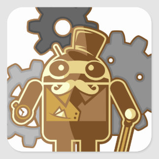 Steampunk android square sticker