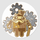 Steampunk Android used-Look Round Sticker