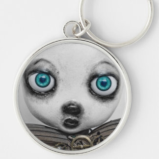steampunk art doll Silver-Colored round key ring