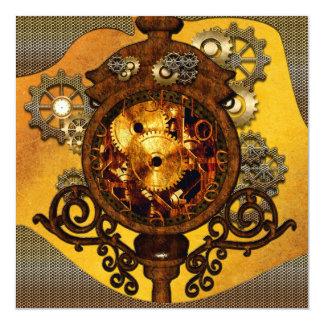 Steampunk,, awesome clock 13 cm x 13 cm square invitation card
