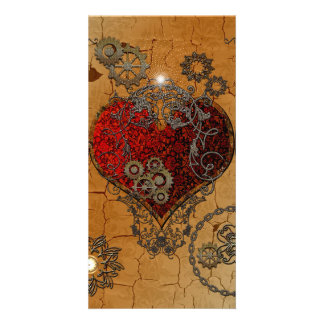 Steampunk, awesome heart customized photo card