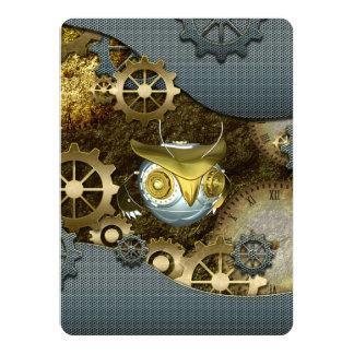 Steampunk, awesome   mechanical owl 14 cm x 19 cm invitation card