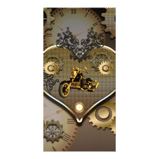 Steampunk, awesome motorcycle personalized photo card
