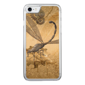 Steampunk, awesome steam dragonflies with gears carved iPhone 8/7 case