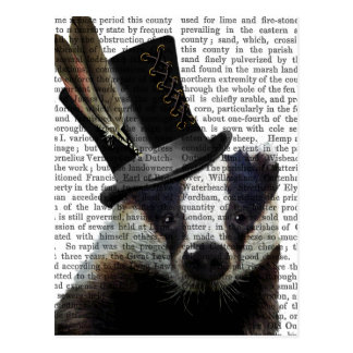 Steampunk Badger in Top Hat Postcard