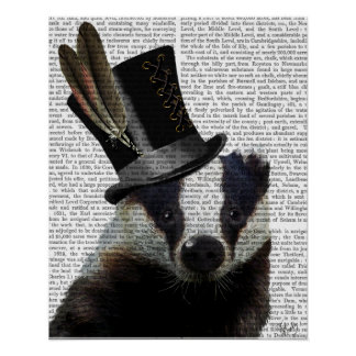 Steampunk Badger in Top Hat Poster