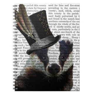 Steampunk Badger in Top Hat Spiral Notebooks