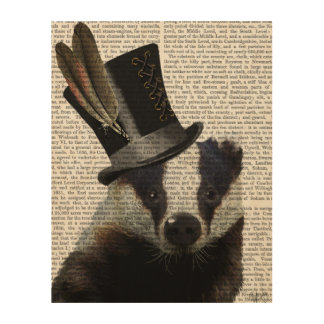 Steampunk Badger in Top Hat Wood Wall Art