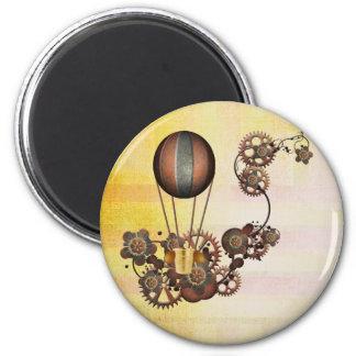 Steampunk Balloon Antique Yellow 6 Cm Round Magnet