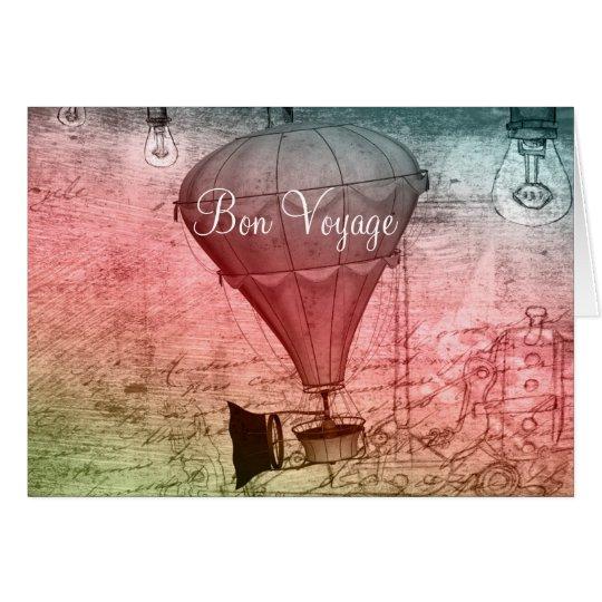 Steampunk Balloon Sketch Bon Voyage Card