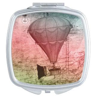 Steampunk Balloon Sketch handbag Travel Mirror