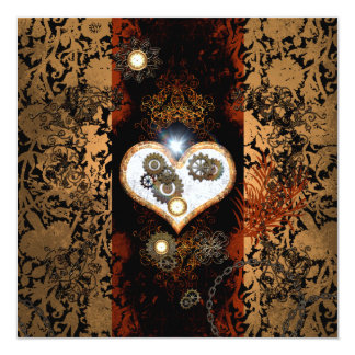 Steampunk, beautiful heart with gears and clocks 13 cm x 13 cm square invitation card