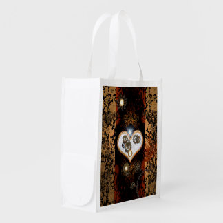 Steampunk, beautiful heart with gears and clocks reusable grocery bag