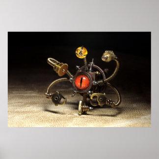 Steampunk Beholder Robot Poster