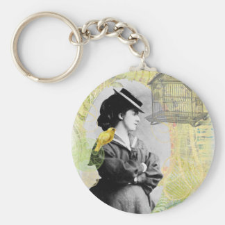 Steampunk Birdcage Victorian Lady Canary Key Ring