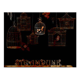 STEAMPUNK BIRDS AND RUSTED CAGES POSTCARD