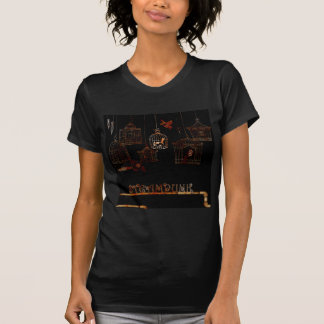STEAMPUNK BIRDS AND RUSTED CAGES TSHIRT