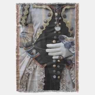 Steampunk bodice, Carnival, Venice Throw Blanket