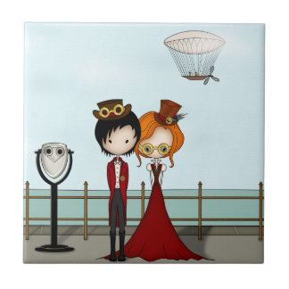 Steampunk Boy and Girl at the Seaside Tiles