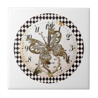 Steampunk Butterfly Round Tile