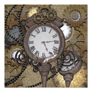 Steampunk can you sea the funny gecko 13 cm x 13 cm square invitation card