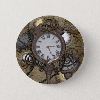 Steampunk  can you sea the funny gecko 6 cm round badge