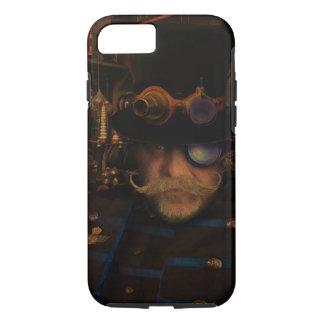 Steampunk Captain Moustache Brass Goggles Top Hat iPhone 8/7 Case