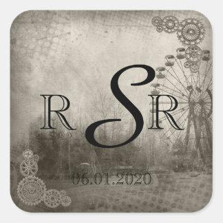 Steampunk Carnival Top Hat Wedding Monogram Square Sticker