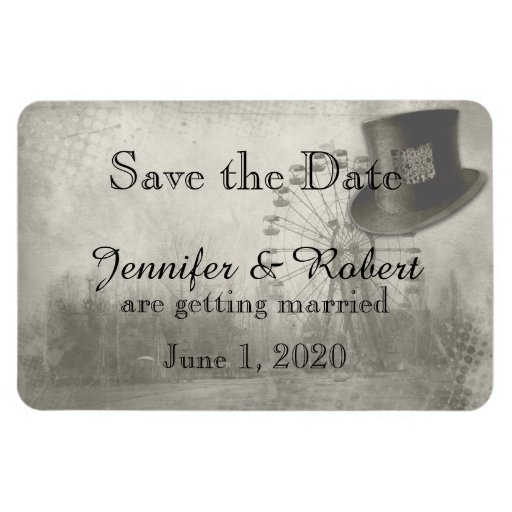 Steampunk Carnival Top Hat Wedding Save the Date Flexible Magnets