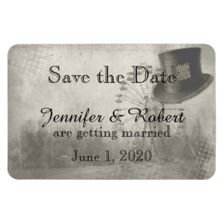 Steampunk Carnival Top Hat Wedding Save the Date Rectangular Photo Magnet