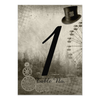 Steampunk Carnival Top Hat Wedding Table Number 13 Cm X 18 Cm Invitation Card