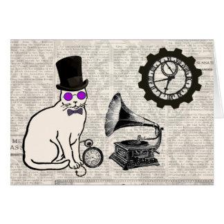 Steampunk Cat Card