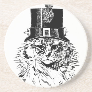 Steampunk Cat Coaster, Kitty in Top Hat Drink Coaster