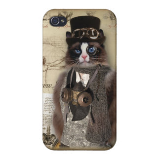 Steampunk Cat Covers For iPhone 4