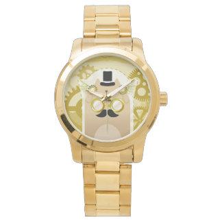 Steampunk Cat gold bracelet watch