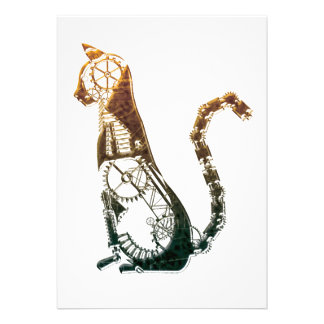 Steampunk cat personalised invite
