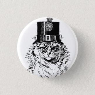 Steampunk Cat Kitty in a Top Hat 3 Cm Round Badge