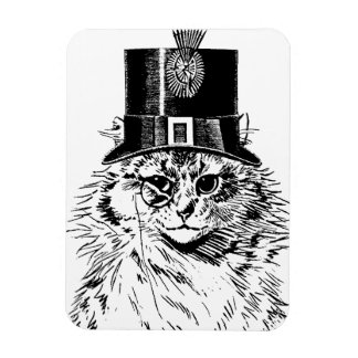 Steampunk Cat Magnet, Kitty in Top Hat Rectangular Photo Magnet